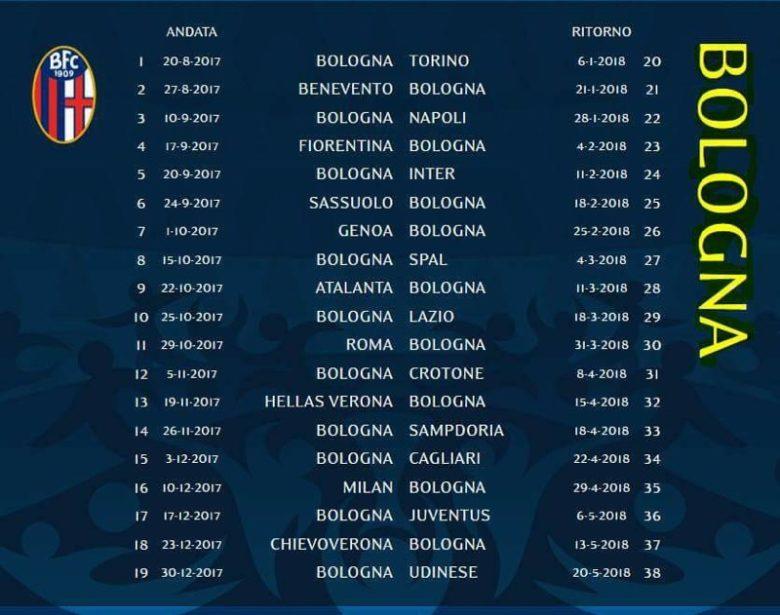Serie A Calendario Completo.Serie A Il Calendario Completo Del Bologna