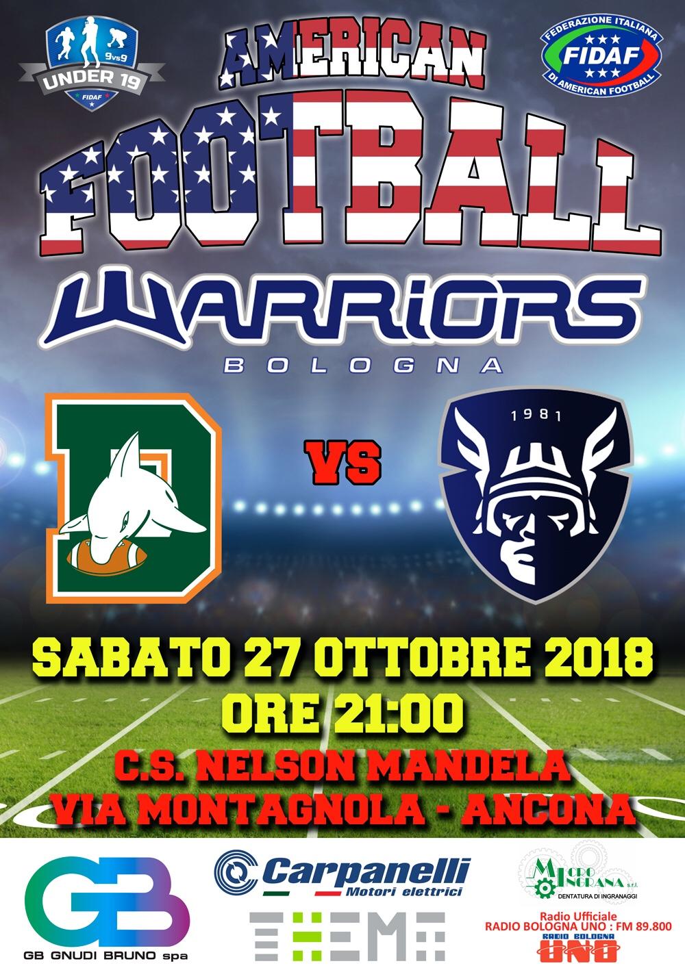 Football americano, gli Under 19 dei Warriors ad Ancona